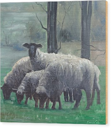 Wood Print featuring the painting Family Of Sheep by John Reynolds