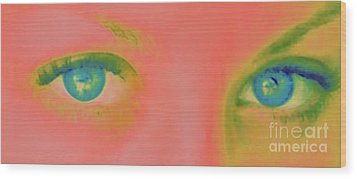 Wood Print featuring the painting Far Away Eyes by Janice Westerberg