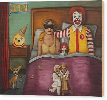 Fast Food Nightmare Wood Print