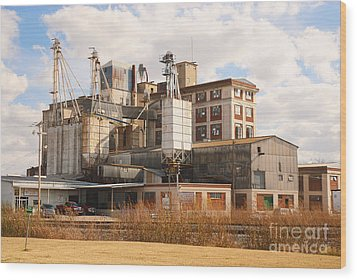 Feed Mill Wood Print by Charles Beeler