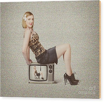 Female Television Show Actress On Old Tv Set Wood Print by Jorgo Photography - Wall Art Gallery