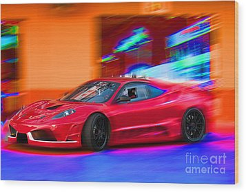 Wood Print featuring the photograph Ferrari by Gunter Nezhoda