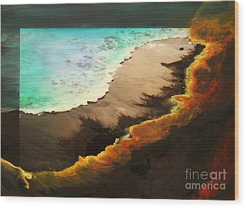 Wood Print featuring the mixed media Fire And Water by Jeanette French