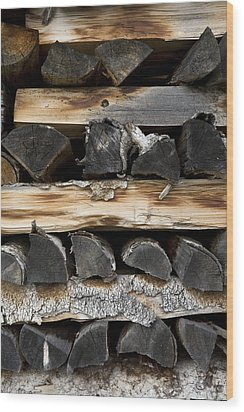 Firewood Stack Wood Print by Frank Tschakert