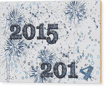 Fireworks And Stars Happy New Year 2015 Wood Print