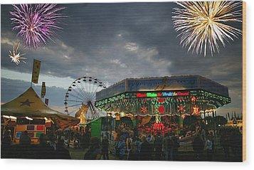 Fireworks At An Amusement Park Wood Print by Darren Greenwood