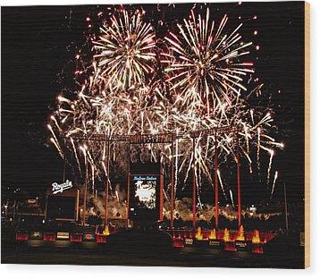 Fireworks At Kauffman Stadium Wood Print by Alan Hutchins