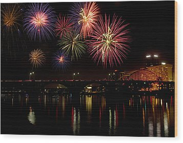 Fireworks Over The Broadway Bridge Wood Print by Robert Camp