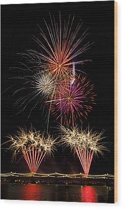 Fireworks  Wood Print by Saija  Lehtonen