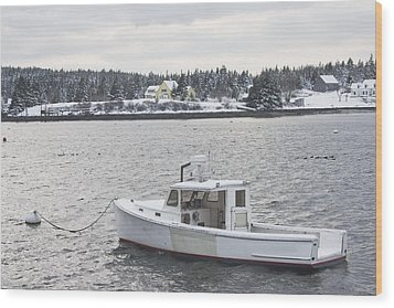 Fishing Boat After Snowstorm In Port Clyde Harbor Maine Wood Print by Keith Webber Jr