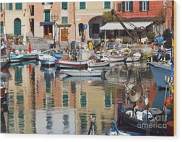 Wood Print featuring the photograph fishing boats in Camogli  by Antonio Scarpi
