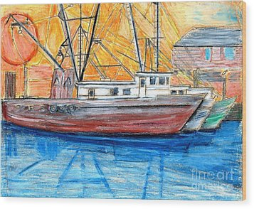 Wood Print featuring the drawing Fishing Trawler by Eric  Schiabor