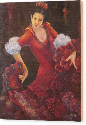 Flamenco Dancer With A Fan Wood Print