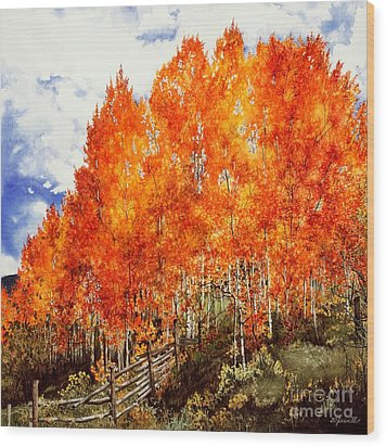 Flaming Aspens 2 Wood Print by Barbara Jewell