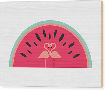 Flamingo Watermelon Wood Print by Susan Claire