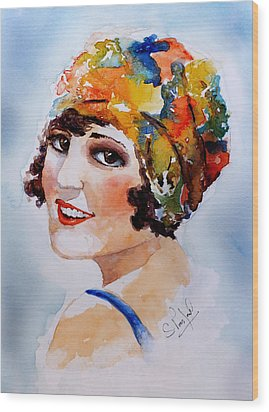 Wood Print featuring the painting Flappers Girl by Steven Ponsford