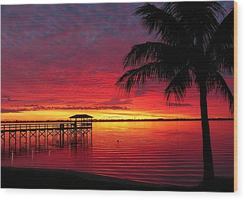 Florida Sunset IIi Wood Print by Elaine Franklin