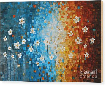 Flowers After Rain Wood Print by Denisa Laura Doltu