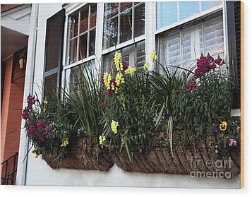 Flowers In The Window Wood Print by John Rizzuto