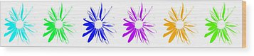 Wood Print featuring the digital art Flowers On White by Maggy Marsh