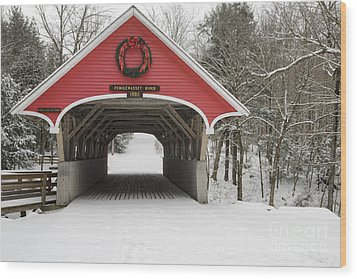 Flume Covered Bridge - White Mountains New Hampshire Usa Wood Print by Erin Paul Donovan