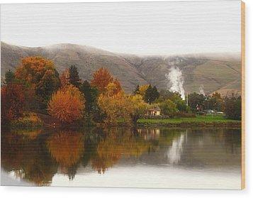 Wood Print featuring the photograph Foggy Fall Morning 2 by Lynn Hopwood