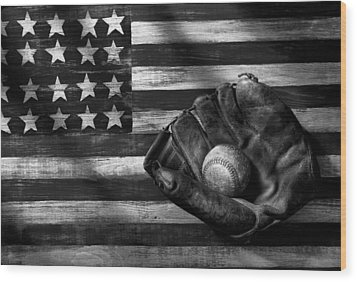 Folk Art American Flag And Baseball Mitt Black And White Wood Print by Garry Gay