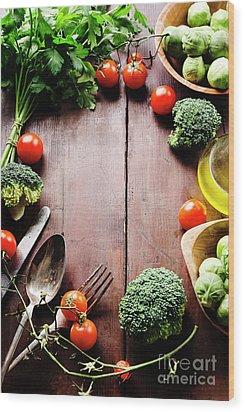 Food Ingredients Wood Print by Jelena Jovanovic