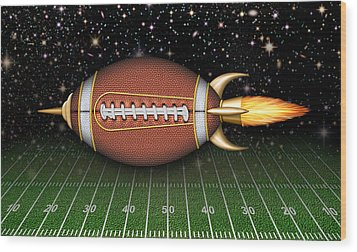 Football Spaceship Wood Print by James Larkin