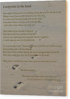 Footprints In The Sand Poem Wood Print by Bob Sample