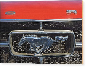 Ford Mustang Badge Wood Print by George Atsametakis