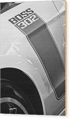 Ford Mustang Boss 302 Emblem Wood Print by Jill Reger