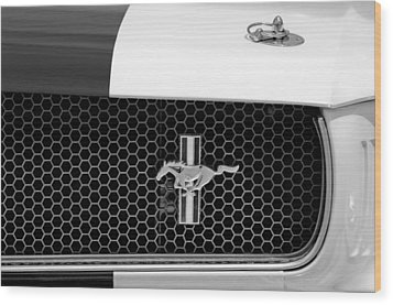 Ford Mustang Gt 350 Grille Emblem Wood Print by Jill Reger