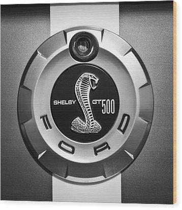 Ford Shelby Gt 500 Cobra Emblem Wood Print by Jill Reger