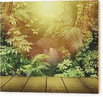 Forest Light Wood Print by Les Cunliffe