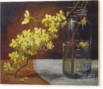 Wood Print featuring the painting Forsythia by Carol Hart