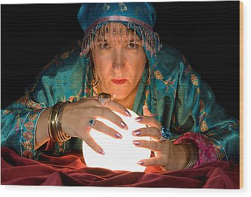 Fortune Teller And Crystal Ball Wood Print
