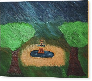 Fountain In The Midst Wood Print by Bamhs Blair