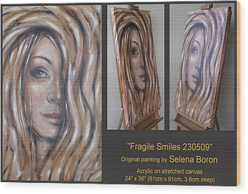 Wood Print featuring the painting Fragile Smiles 230509 by Selena Boron