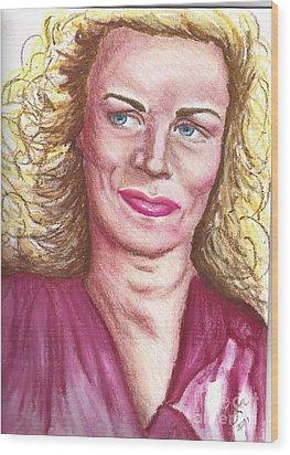Wood Print featuring the pastel Frau Washington by Alga Washington