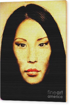 Freckle Faced Beauty Lucy Liu  Wood Print by Jim Fitzpatrick