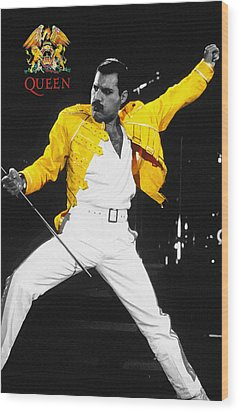 Freddie Mercury Live In Wembley1986    Wood Print