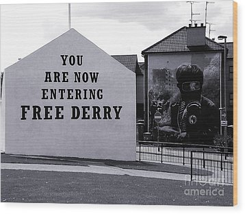 Free Derry Corner Wood Print by Nina Ficur Feenan