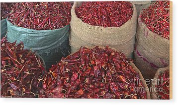 Wood Print featuring the photograph Fresh Dried Chilli On Display For Sale Zay Cho Street Market 27th Street Mandalay Burma by Ralph A  Ledergerber-Photography
