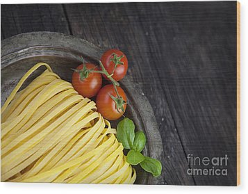 Fresh Pasta Wood Print by Mythja  Photography