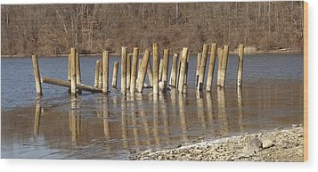Wood Print featuring the photograph Frozen Pilings by Michael Porchik