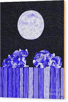 Full Moon Blues Cats Wood Print by Nick Gustafson
