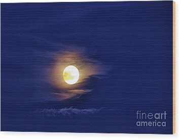 Full Moon With Clouds Wood Print by Thomas R Fletcher