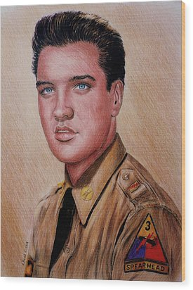 G I Elvis  Wood Print by Andrew Read