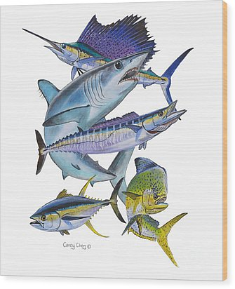 Gamefish Collage Wood Print by Carey Chen